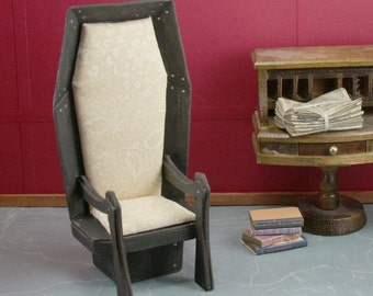 Dollhouse Miniature - Vampire Coffin Chair - Cream and Black