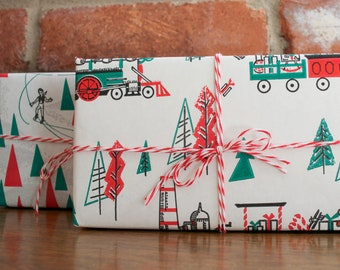 3 yards of vintage train christmas wrapping paper