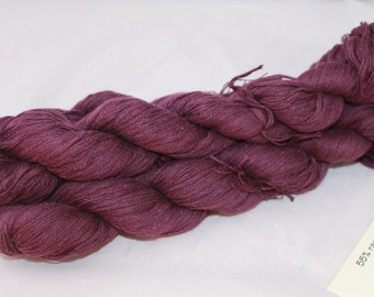 30% off STORE CLOSING SALE Recycled Purple Ramie Cotton Yarn, Worsted Yarn - 291 Yards