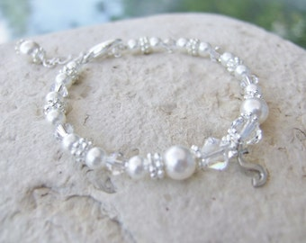 Beautiful Pearl and Crystal Bracelet with Sterling Initial Charm B175