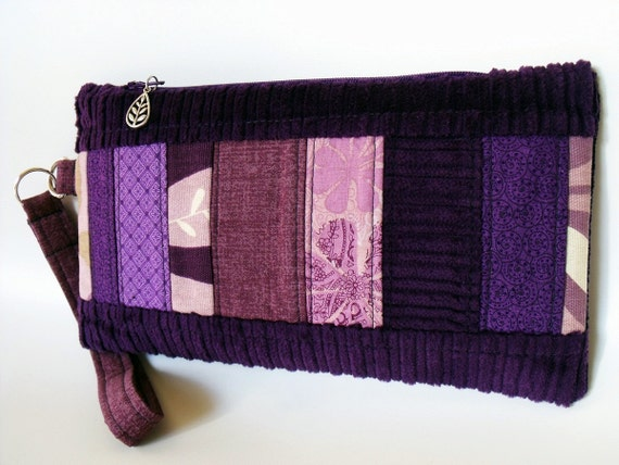 Wristlet Wallet Pouch Purse ANNIE in QUILTED PLUM CORDURoY