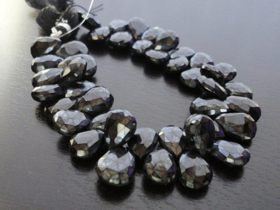 1/4 Strand - Mystic Pearl Spinel Faceted Pear Briolettes (No. 1474)