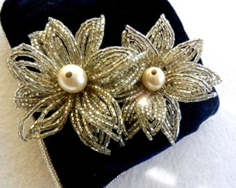 50s Venice - crystals and Venetian beads - large beaded flower earrings so spectacular, unique and rare -art.441-
