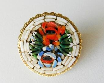 Vintage Italian 1950 - fabulous micro mosaic brooch Brand ITALY- Italian art in Florence---Art.208/2 -
