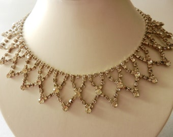 Vintage Bride-Collier 1950 - beautiful crystals to shine like a queen -lace collier with crystals--art.301/2-