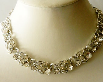 Magnificent collier 1940 - signed STAR - large crystals and silver for a unique style and bright-perfect for the bride- Art.341/2--