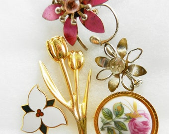 1950, small pleasures vintage - collection of 5  sweets Brooches - Flower jewelry, romantically retro--art.364/2-