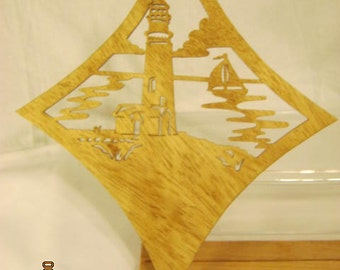LIGHTHOUSE in DIAMOND SHAPE Scroll Saw Plaque