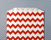 Red Chevron Goody Bags / Favor Bags / Treat Bags (20) - 5 x 7.5 inches - Midi Size
