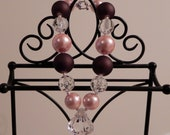 Brown, Pink, and Bling Sweet & Chunky Necklace