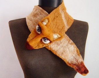Foxy Lady felted scarf, felt collar, eco friendly animal scarf