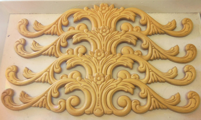 4 Furniture Appliques Wood Gingerbread Floral Pediment Trim