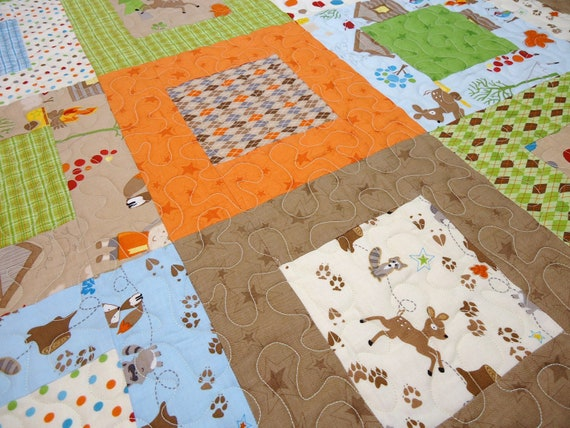 Modern Baby Quilt, Boy - Fox Trails Quilt - Brown, Orange, Green and Blue
