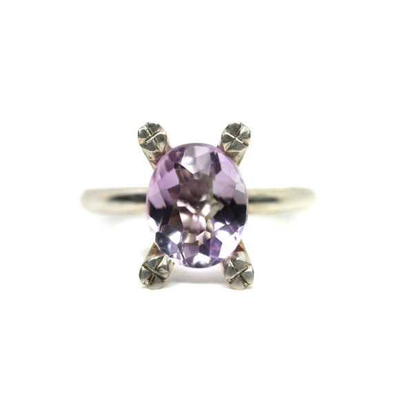 Sterling Silver 4 Prong Amethyst Ring - Lavender Bloom