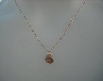 Personalized, Hand stamped initial heart necklace - 14K gold filled