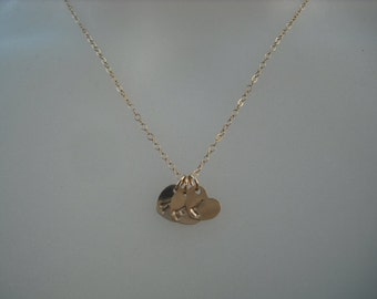 Personalized, Triple Hand stamped initial heart pendant necklace - 14K gold filled