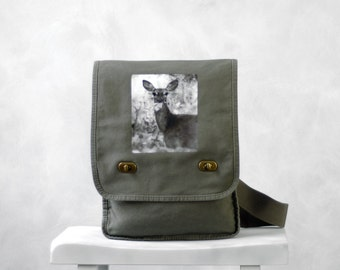 Oh, Deer - Messenger Bag - Woodland - Field Bag - School Bag - Khaki Green - Canvas Bag