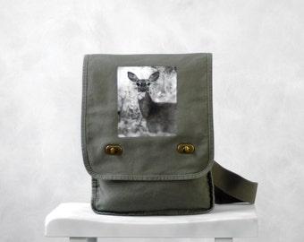 Oh, Deer - Messenger Bag - Woodland - Field Bag - School Bag - Khaki Green - Canvas Bag