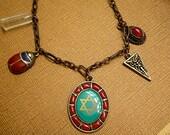 Bohemian Necklace Amulet Necklace Tailsman Necklace Charm Neckace