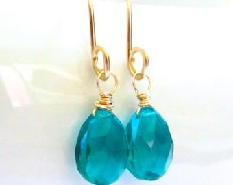 Teal Blue Quartz Earrings, 14k Gold, Wire Wrapped, Dangling Teardrop Gemstones, Handmade Fall Jewelry by Sonja Blume