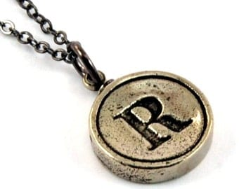 Letter R Necklace - White Bronze Initial Typewriter Key Charm Necklace - Gwen Delicious Jewelry Design
