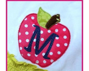 Apple Back to School Monogram Set- Machine Embroidery Font Alphabet Letters  - Instant Download -Digital Machine Embroidery Design