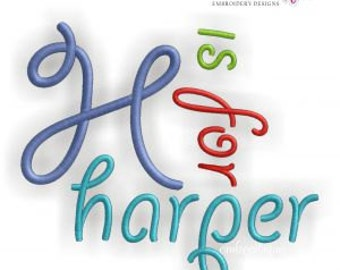 Harper Monogram Font - Curly Alphabet Great for boys and girls- Instant Email Delivery Download Machine embroidery design