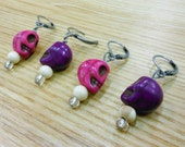 Crochet and knitting stitch markers -- pink and purple skulls -- your choice of styles
