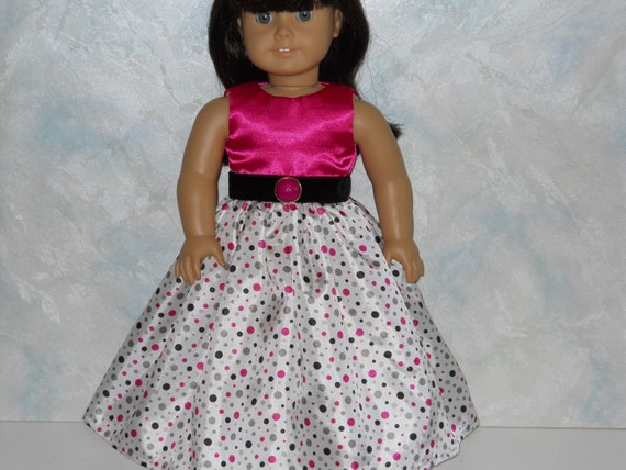American Girl doll clothes, 18 inch doll clothes,  Pink/White Circle Special Occasion Dress