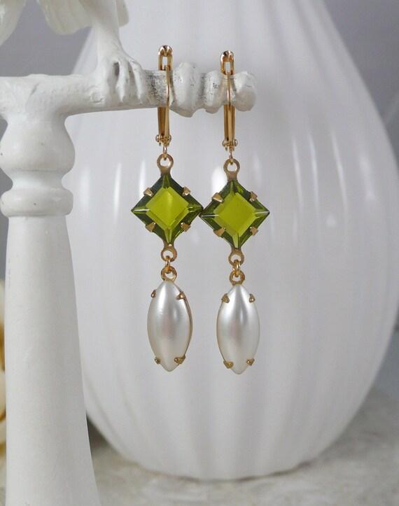 Earrings with Vintage Swarovski Crystal in Olivine