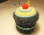 Cupcake Pincushion Felted Wool Upcycled Felted Wool Charcoal Grey Yellow Turquoise with Ribbon