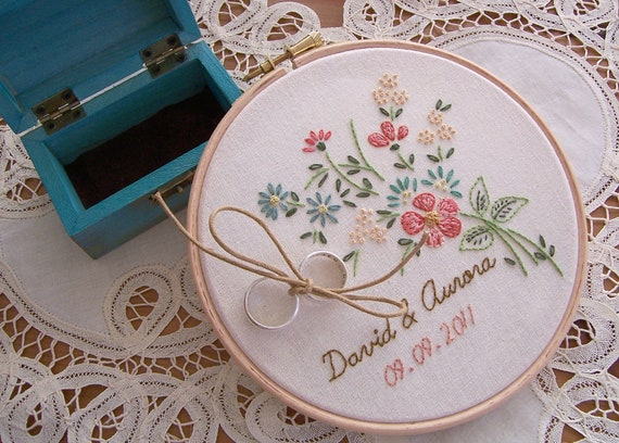 Items similar to vintage embroidery hoop art ring bearer