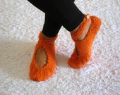 Christmas Gifts, Orange Slippers, Womens Slippers, Crochet Slippers ,Knit Slippers ,Handmade Slippers