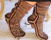 Chocolate, Warm Long Slippers, Handmade Slippers, House Slippers, Mukluk