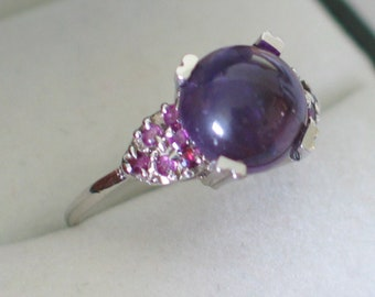 Amethyst gemstone cluster ring band solid 10kt white gold size 7 1/4 natural gems cocktail solitaire womens fine jewelry