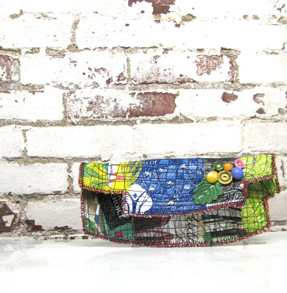 Reserved for S. Upcycled Clutch Bag Asymmetrical One of a Kind Artsy Recycled Plastic Lime Green Blue