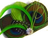 LIME WAVE Green Peacock Hair Fascinator Perfect for a Fall Bride or Bridesmaids