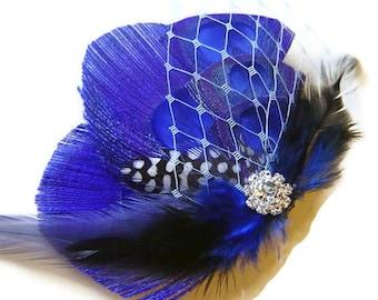 Royal Blue Peacock Feather Clip w/ Baby Blue Netting Rhinestone Elegant Bridal  Wedding Fascinator Clip