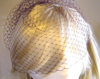 """Bridal 9"""" Birdcage Veil French Russian Netting Wedding MAUVE Several Colors available"""