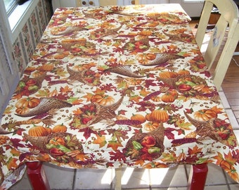 Fall Tablecloth Brown , Sienna, Colors  Cotton Kitchen Tablecloth, Studio Made, Vegetables, Orange Pumpkins, Acrons, Oak Leaves, Squash