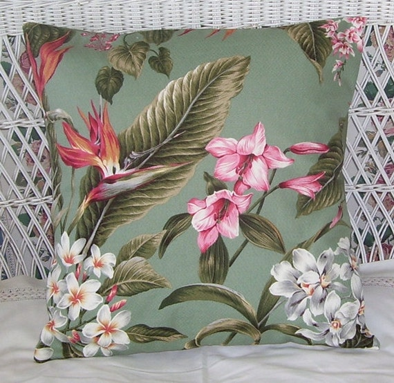 Hawaiian Barkcloth Pink and White Flowers Accent Pillow