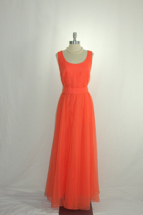 Vintage 1960's Designer Jack Bryan Dress - Deep Bright Coral Long Sleeveless Formal Gown