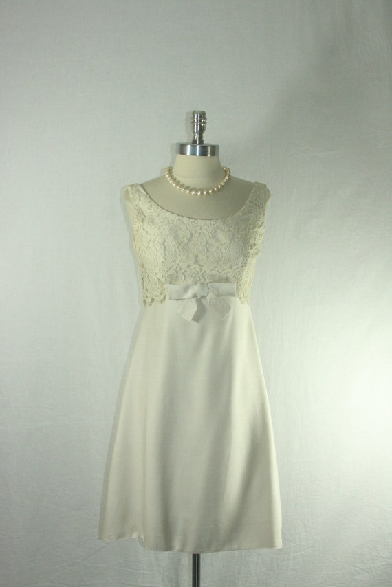 1960s Garden Wedding Dress - White Empire Waist Silk Linen and Lace Short Wedding Frock