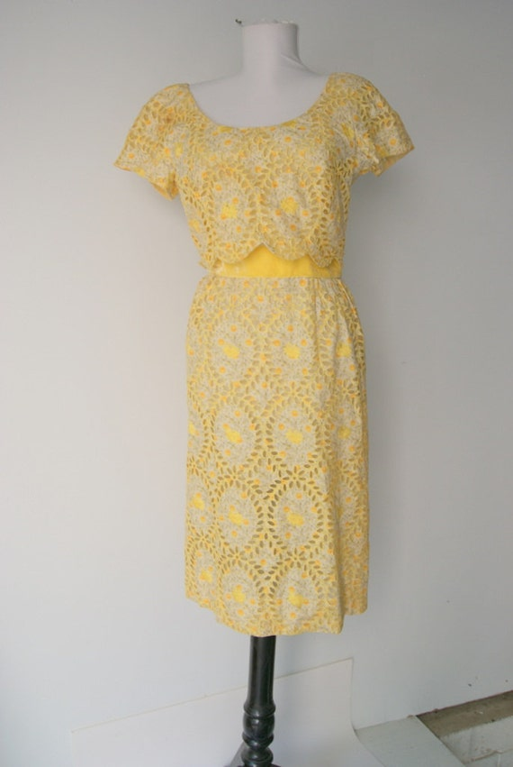 Beautiful late 40s early 50s cut out eyelet Dress by Nat Kaplan