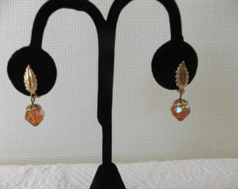 Vintage Earrings Screw Back Leaf with Amber Iridescent Bead Gold Tone Retro Costume Jewelry