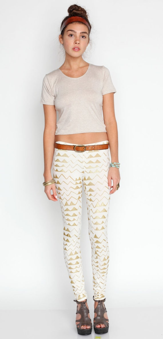 Hand Printed 'Mountain' Leggings in Gold on Creme