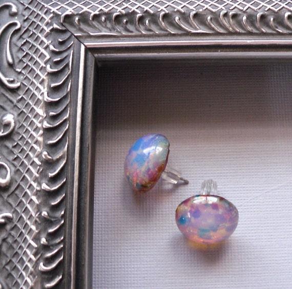 Vintage Bold Pink Harlequin Glass Earring Studs