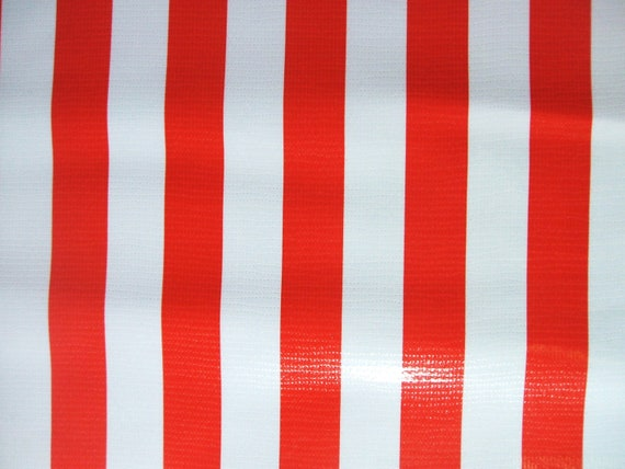 Red And White Stripe Mexican Oil Cloth Vinyl Tablecloth Fabric