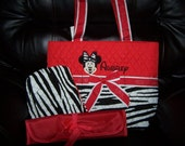 Personalized Custom Quilted Zebra Red Miss Mr Mouse Inspired 3 Pc. Diaper Bag Set SHIPS FREE