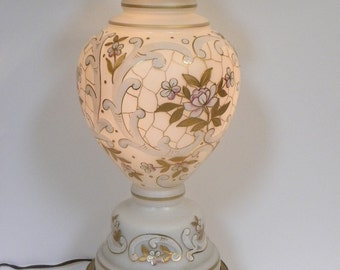 Vintage Hollywood Regency Large Lamp  -- White Frosted Glass Floral Design Real Gold Trim--Excellent working condition--Made in Germany